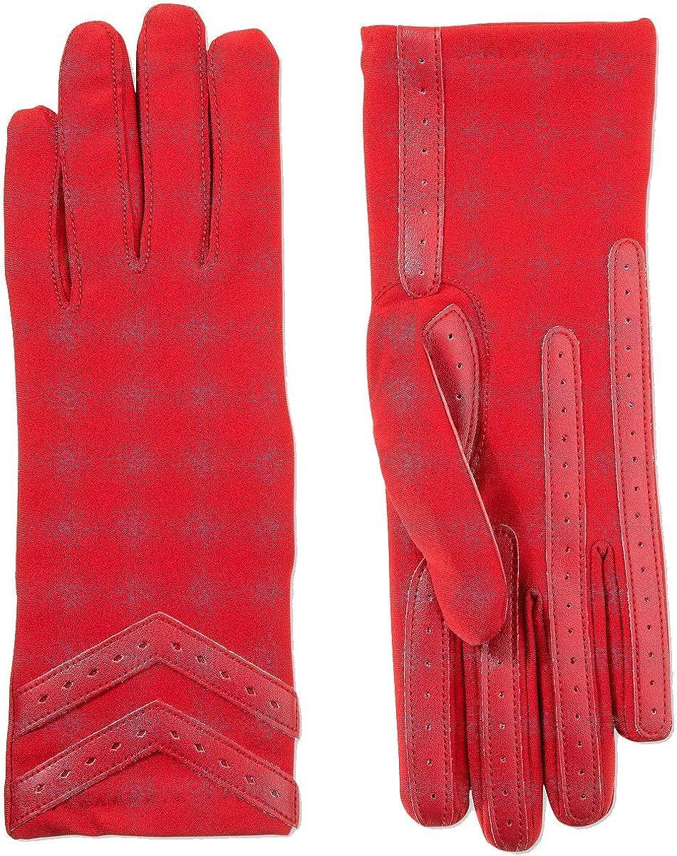 Isotoner Signature Women's smartdri Chevron Spandex Stretch Touchscreen Gloves (Red, S/M)