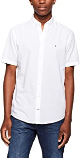 TOMMY HILFIGER Men's Slub Poplin Cotton Short Sleeve Shirt