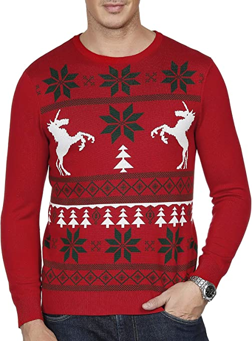 PJ PAUL JONES Mens Pullover Long Sleeve Snowflakes Xmas Tops Christmas Sweater