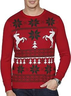 PJ PAUL JONES Mens Casual Christmas Pattern Lightweight Knit Pullover Sweater