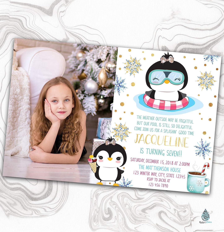 Penguin online Very popular! shopping Pool Party Invitation - Photo Snowflakes Invi Winter