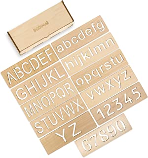 Bodima Educational Wood Handwriting Stencil Set | Easy-to-Use Writing Guide for Kids & Preschoolers | Letters & Number Stencils for More Convenient Handling & Tracing | Reusable Boards (Letters)