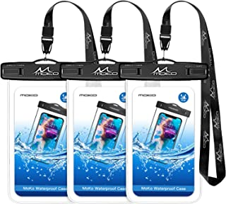 MoKo Waterproof Phone Pouch [3 Pack], Underwater Clear Phone Case Dry Bag with Lanyard Compatible with iPhone 11/11 Pro Ma...