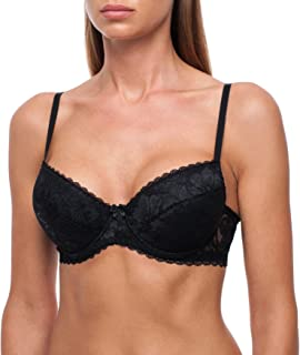 frugue Women's Push-Up Padded Lace Plunge Underwire T-Shirt Bra