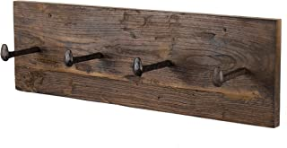 Rustic State Kabat Wall Mount Mudroom Entryway Organizer Wood Farmhouse Coat Rack with 4 Cast Iron Hooks Walnut 24 Inches Long