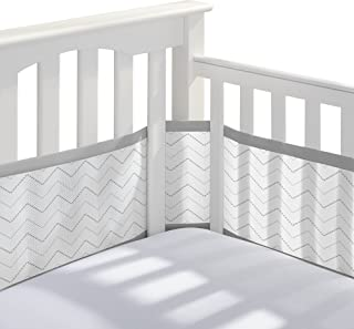 BreathableBaby Classic Breathable Mesh Crib Liner - Gray Chevron