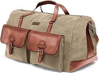DRAKENSBERG Long Weekender - große Reisetasche im Vintage-Safari-Design, Damen und Herren, handgemacht in Premium-Qualität, 60 L, Canvas und Leder, Khaki-Beige, Braun, DR00104
