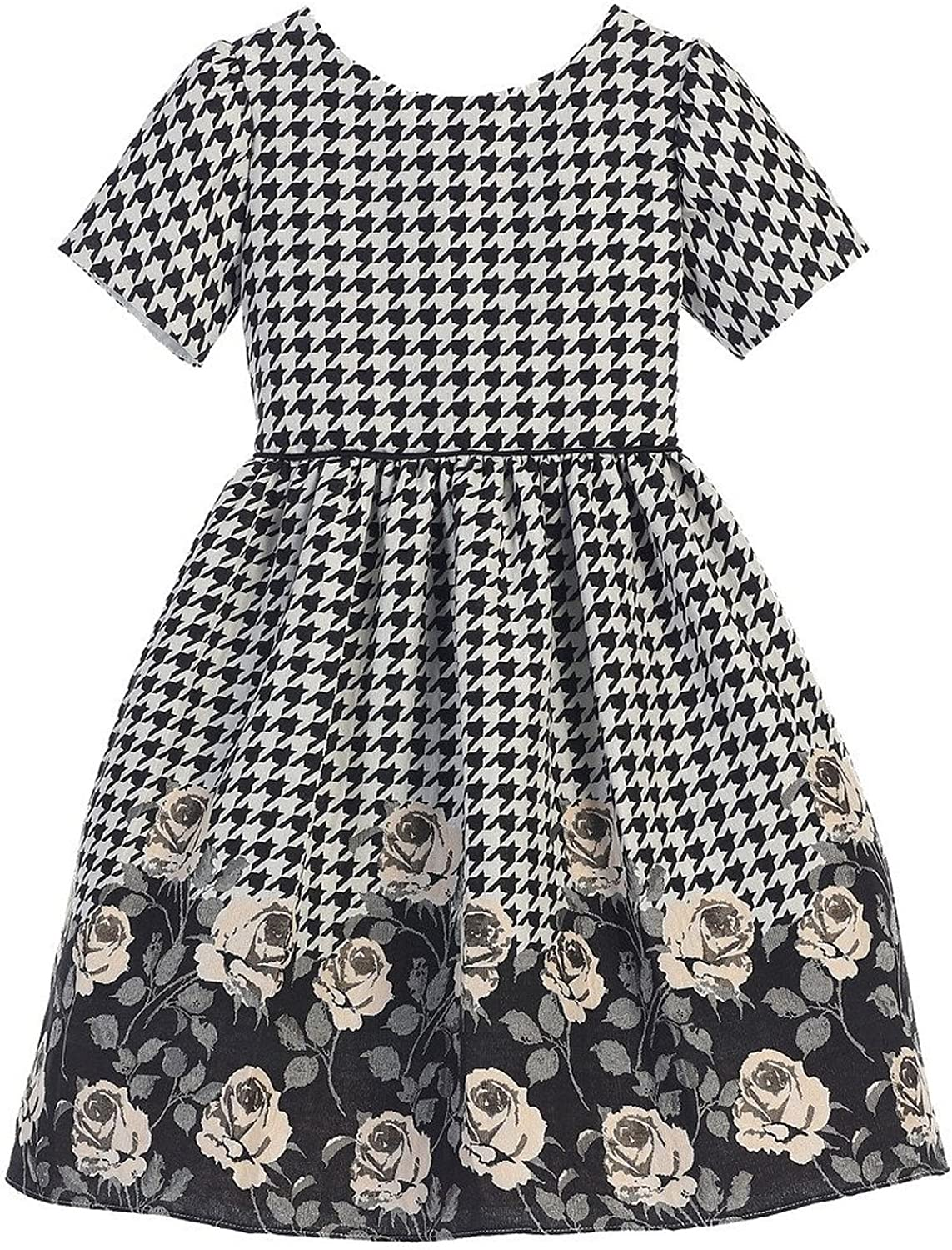 Sweet Kids Houndstooth Rose Printed Jaquard Little Girls' Special Occasion Dress