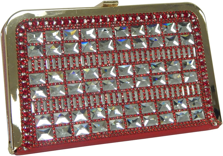 Large Slim Hard Shell Box Frame Clutch Rhinestone Minaudiere Evening Bag Detachable Shoulder Strap