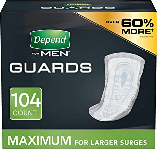 Depend Incontinence Guards/Bladder Control Pads for Men, Maximum Absorbency, 104 Count (2 Packs of 52) (Pac...