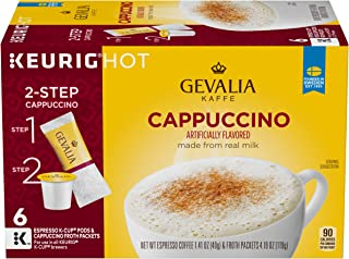 Gevalia Cappuccino Keurig K Cup Pods with Froth Packets (36 Count, 6 Boxes of 6)