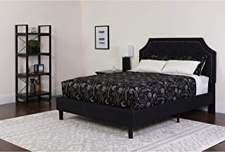 Flash Furniture Brighton Twin Size Tufted Upholstered Platform Bed in Black Fabric