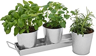 Windowsill Herb Planter Pots - Set of 3 Indoor Galvanized Planters and Tray