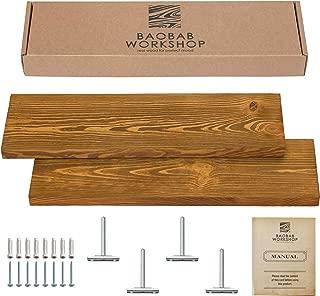 oak shelf with brackets