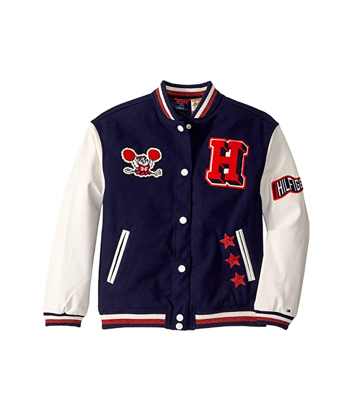 Tommy Hilfiger Adaptive  Varsity Jacket with Magnetic Buttons (Little Kids/Big Kids) (Evening Blue/Multi) Womens Clothing
