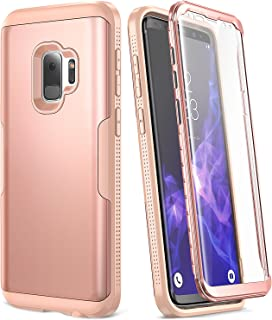 YOUMAKER Galaxy S9 Case, Rose Gold with Built-in Screen Protector Heavy Duty Protection Shockproof Slim Fit Full Body Case Cover for Samsung Galaxy S9 5.8 inch (2018) - Rose Gold/Pink