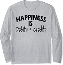 Happiness is Debits Equals Credits Accountant Gift Long Sleeve T-Shirt