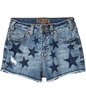 High-Rise Shorts Printed Navy Stars in Medium Wash 68H5290