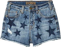 High-Rise Shorts Printed Navy Stars in Medium Wash 68H5290