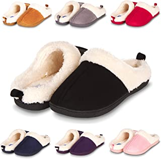 Slippers for Women Memory Foam Fur Lined Clog House Slipper W/Indoor-Outdoor Anti Skid Rubber Sole