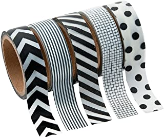 Black & White Patterned Washi Tape Set (5 Rolls Per Unit) Each Roll Includes 16 Ft. Of Tape.