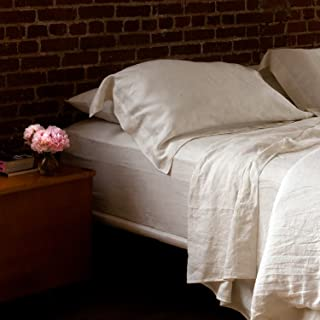Huddleson Ivory Vintage-Washed Pure Italian Linen Sheet Set - Queen