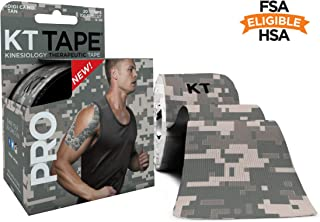 KT Tape Pro Kinesiology Therapeutic Sports Tape, 20 Precut 10 inch Strips, Latex Free, Water Resistance, Pro & Olympic Choice, Digital Camo