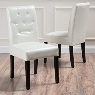 white leatherette dining chairs