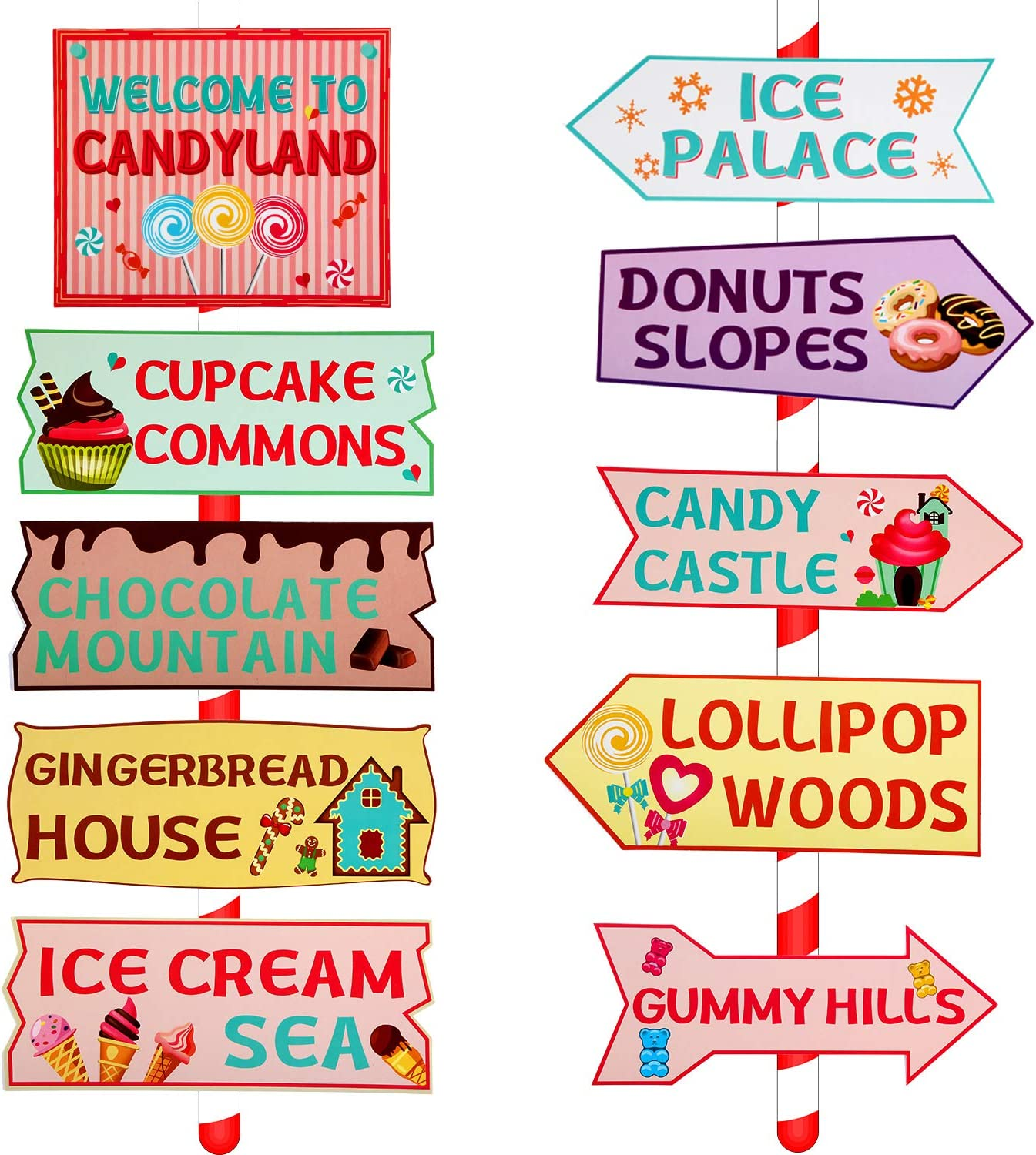 Amazon Com 20 Pieces Candy Land Party Sign Welcome Directional Signs Street Sign Photo Prop Cutouts For Sweet Theme Birthday Decoration Toys Games