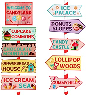 20 Pieces Candy Land Party Sign Welcome Directional Signs Street Sign Photo Prop Cutouts for Sweet Theme Birthday Decoration