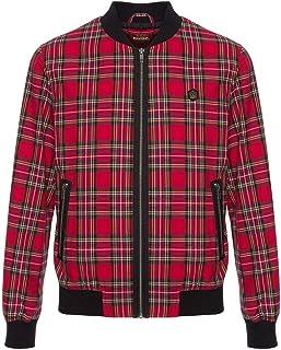 merc Mens London Retro Check Tartan Harrington Bomber Jacket Ainslie - Red