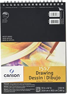 Canson Artist Series 1557 C A Grain Drawing Paper, Two-Sided: Fine and Medium Textures, Top Wire Bound, 111 Pound, 9 x 12 Inch, 20 Sheets