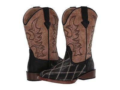 Roper Kids Cross Cut (Toddler/Little Kid) (Black Patchwork Vamp/Tan Shaft) Cowboy Boots