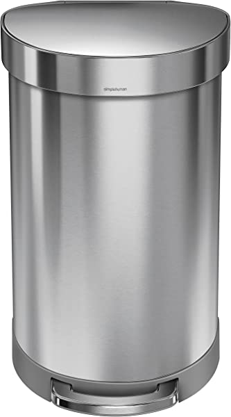 Simplehuman 45 Liter 12 Gallon Stainless Steel Semi Round Kitchen Step Trash Can With Liner Rim Brushed Stainless Steel