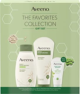 Aveeno Most Loved Best Sellers Skincare Set with Daily Moisturizing Body Wash, Positively Radiant Brightening Daily Scrub,...