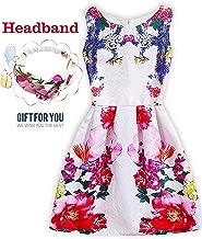 Girls Back to School Dress Sleeveless Butterfly Print Princess Dresses Casual Sundress with Headband
