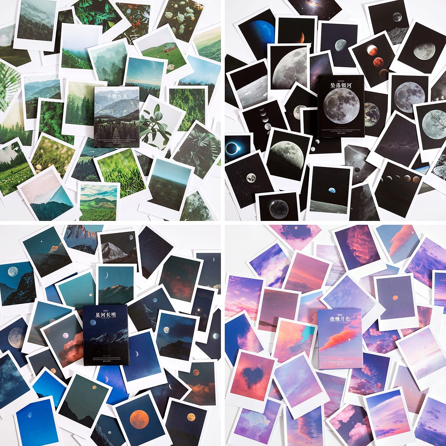 Landscape Nature Stickers Set (120 Pieces), Aesthetic Mountain Forest Sky Cloud Galaxy Space Moon Phase Sunset Natural Scenery Collage Pictures for Art Journaling Scrapbooking Planner Bullet Junk Journal Supplies Notebook DIY Crafts Album Phone Cases Laptops Calendars