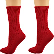 Sierra Socks Women's Acrylic Cable Crew Colorful 2 Pair Pack 2291
