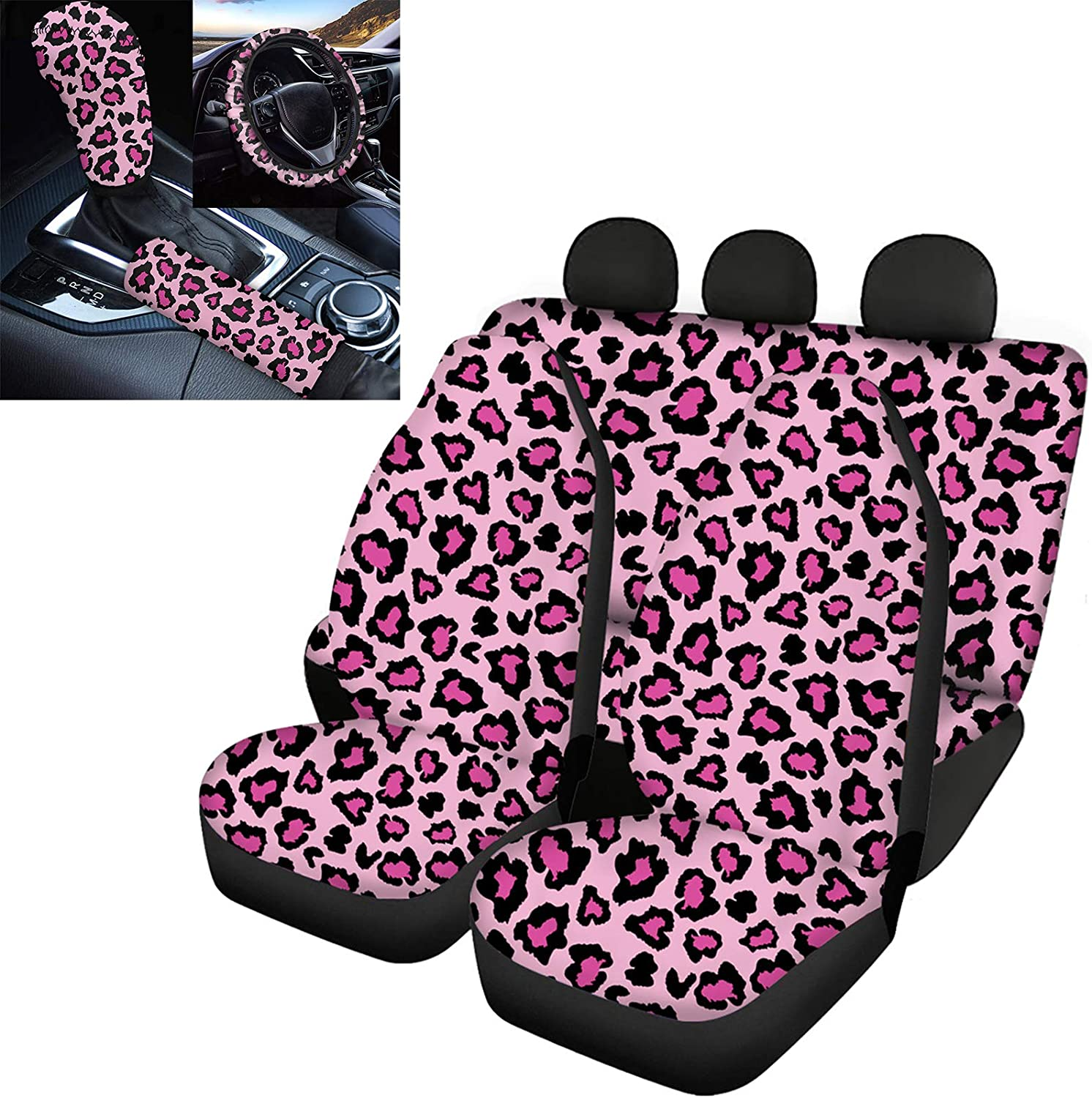 GLENLCWE Pink Leopard Print Max 67% OFF Car Seat with Courier shipping free Wh Steering Set Covers