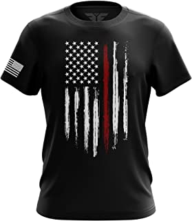 Red Line Blue Line American Flag Military Army Mens Tee Made in USA T-Shirt