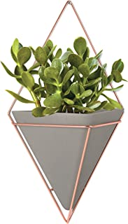 Umbra Trigg Hanging Planter, Large, Concrete/Copper