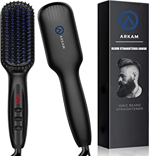Arkam Beard Straightener for Men, Ionic Beard Straightening Comb with Anti-Scald Feature, Heated Hair Straightener for Men & Women, Portable Beard Brush Straightener with LED Display for Home & Travel