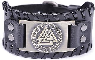 TEAMER Viking Valknut Symbol Leather Bracelet Odin Norse 24 Runes Slavic Sigil Adjustable Cuff Bangle