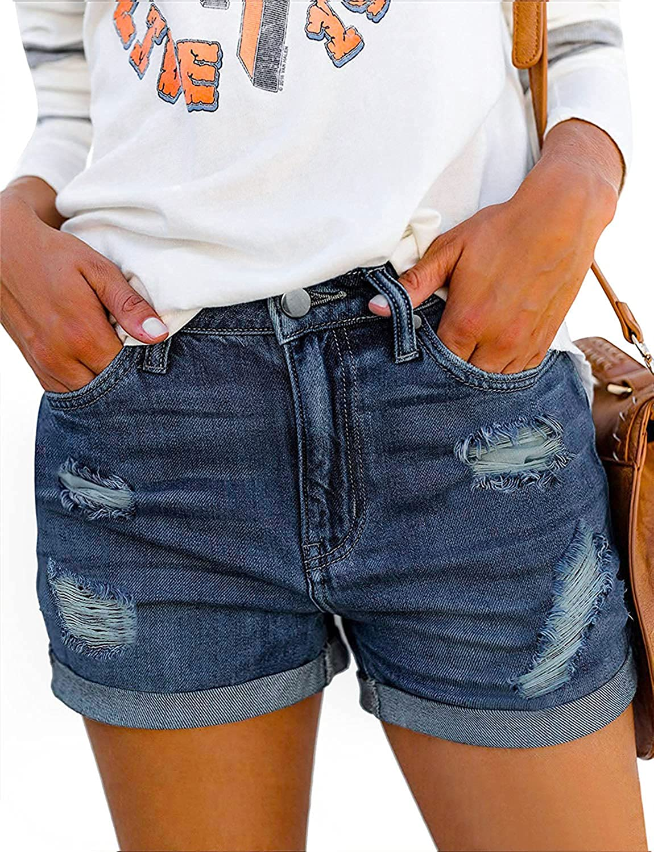 CHICZONE Women's Denim Shorts Mid Rise Ripped Jean Shorts Stretchy Folded Hem Hot Short Jeans