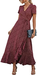 لباس مجلسی تابستانی زنانه PRETTYGARDEN لباس گاه به گاه Boho Floral V یقه آستین کوتاه Ruffle Hem Split Beach لباس بلند