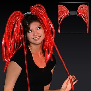 FlashingBlinkyLights Light Up Red Hair Noodles Headband
