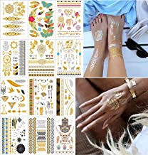 COKOHAPPY 12 Sheets Metallic Temporary Tattoo Gold Silver Over 150+ Shimmer Design Elephant Butterfly Feathers Mandala Lotus Mehndi Dream Catcher Armband for Women Teens Girls