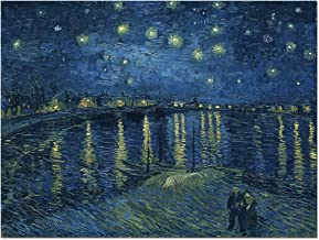 Wieco Art Starry Night Over The Rhone by Van Gogh Classical Oil Paintings Reproduction Large Modern Stretched and Framed Canvas Print Wall Art Seascape Pictures Giclee Artwork for Home Office Decor