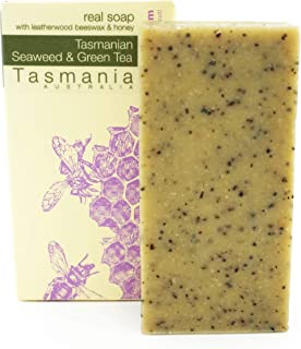 Beauty and the Bees 100% Natural Tasmanian Seaweed & Green Tea Leatherwood Honey Soap Scrub Bar Cleanser for Face Hands & ...