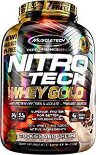 Protein Powder | MuscleTech Nitro-Tech Whey Gold | Whey Protein Powder | Whey Protein Isolate + Peptides | Protein Powder ...